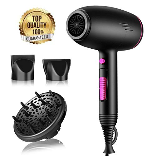Professional Diffuser Hair Dryer Powerful Ionic Hair Dryer 2500W Lightweight Fast Dry Blow Dryer Ceramic Hair Dryer with AC Motor, Black