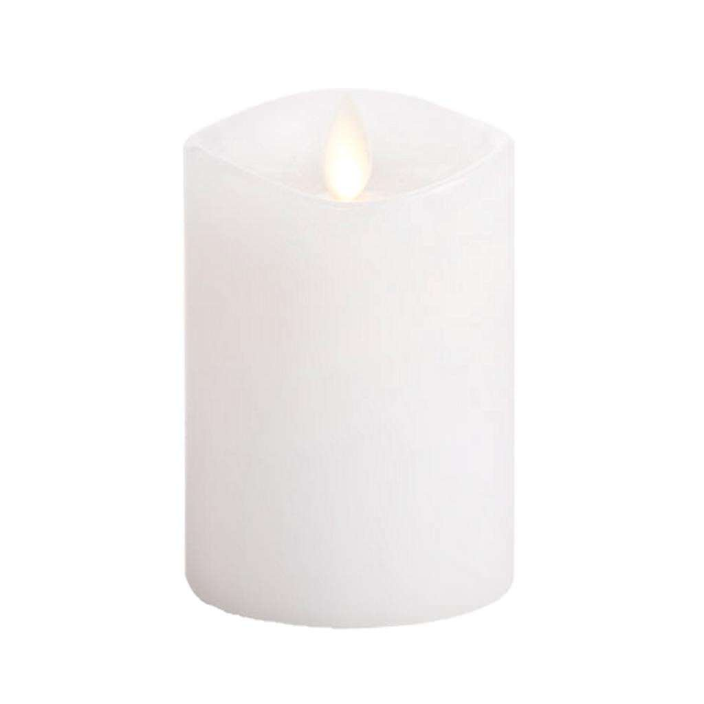 Luminara Flameless Candle 360 Degree Top Unscented Moving Flame Candle with Timer 4 White