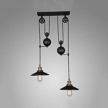 Iron pulley pendant light motent industrial vintage 3 light winsoon american country style pulley droplight antique retro iron pendant ceiling lighting adjustable wire lamps mozeypictures Image collections