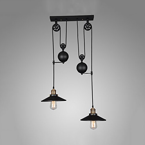 WINSOON American Country Style Pulley Droplight Antique Retro Iron Pendant Ceiling Lighting Adjustable Wire Lamps (2 - Usps Country Shipping Out Of