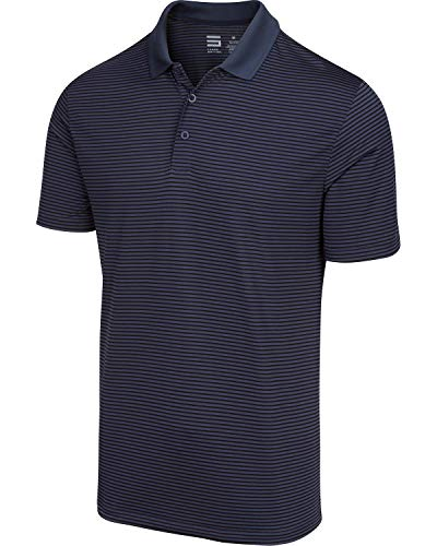 Three Sixty Six Dry Fit Golf Shirts for Men - Short Sleeve Mens Stripe Polo Shirt (Fit Shirt Sleeve Relaxed Polo Short)