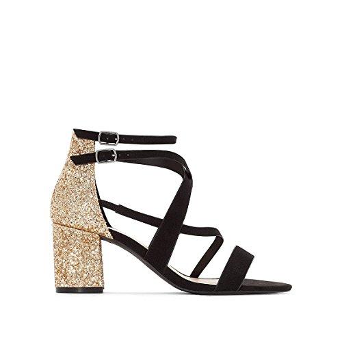 La Redoute Womens Glitter Heel Sandals Black/Gold-Coloured