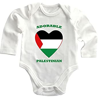 Adorable Palestinian Palestine Infant Long Sleeve Baby Bodysuit One Piece Newborn