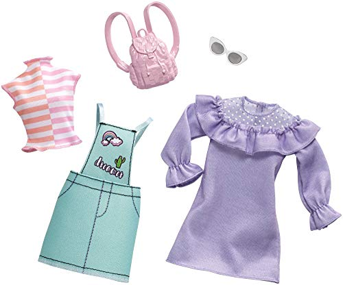 Barbie Clothes: 2 Outfits Doll Feature Pastels Like Light Green Overalls with Cute Graphics and Pink Backpack, Gift for 3 to 8 Year Olds from Barbie