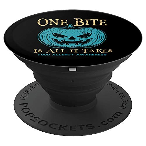 Food Allergy Halloween Scary Teal Pumpkin - PopSockets Grip and Stand for Phones and Tablets -