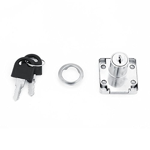 Drawer Lock, Delaman Zinc Alloy Office Desk Cabinet Cupboard Furniture Secure Locking Metal Drawer Lock Silver Tone with Keys (22mm)