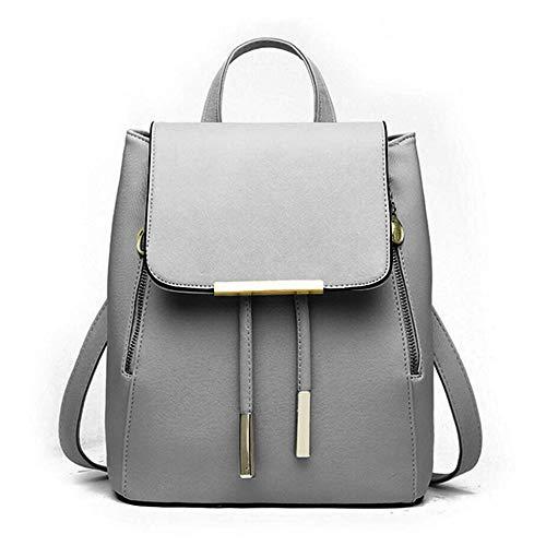 WINK KANGAROO Fashion Shoulder Bag Rucksack PU Leather Women Girls Ladies Backpack Travel bag (Dark grey) ()