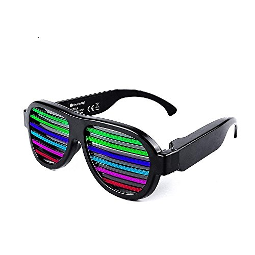 Music & Sound-Activated LED Light Glasses, USB Rechargeable LED Flashing Sunglasses of Shutter Shades Eyewear for Party Decoration, Clubbing, Bar, Rave, Birthday, Concert & Disco (Black)]()