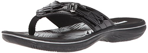 Clarks Women's Breeze Sea Flip Flop, black synthetic patent, 6 B(M) US