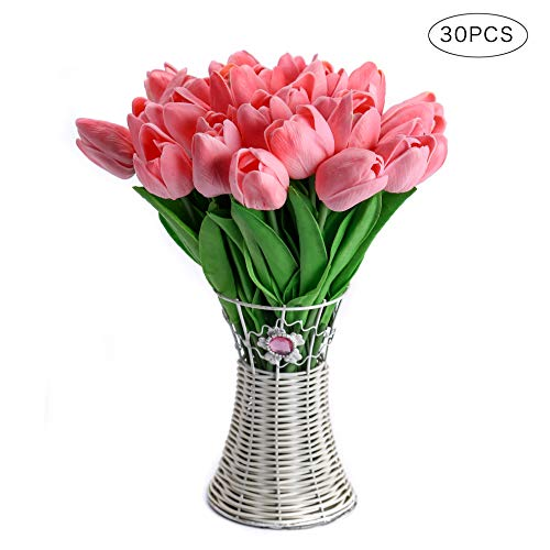 CCINEE Decora 30pcs Real Touch Tulips Pink PU Tulips Artificial Flowers for Wedding Home Centerpiece Decoration