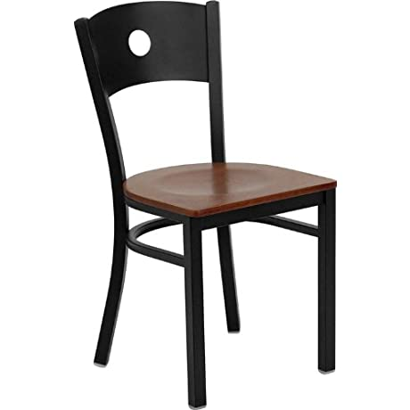 Flash Furniture 4 Pk HERCULES Series Black Circle Back Metal Restaurant Chair Cherry Wood Seat