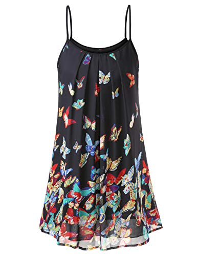 DJT Sun Dresses for Women Casual, Women's Summer Pleated Front Casual Spaghetti Strap Sundress Beach Slip Sleeveless Vest Dress Black Floral #3 XL