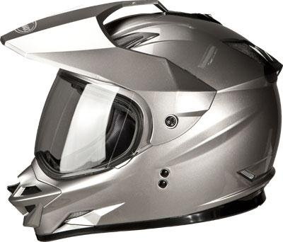 G-Max GM11D Solid Dual Sport Helmet , Distinct Name: Titanium, Primary Color: Silver, Size: Md, Gender: Mens/Unisex, Helmet Type: Full-face Helmets, Helmet Category: Street G5110475