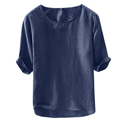 (JustWin Men's Casual Soft Cotton Linen Top Loose Classic Simple O-Neck Tops Short Sleeve Five Point Solid Color Tee Shirt Navy)