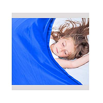 ".com - Nappo Sensory Compression Sheet for Kids and Adults-Weighted Blanket Alternative, Cool, Stretchy, Breathable Sheets (Queen Size, 63""x60"" Royal Blue) -"