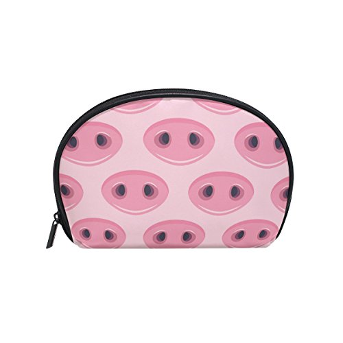 ALAZA Pig Nose Half Moon Cosmetic Makeup Toiletry Bag Pouch Travel Handy Purse Organizer Bag for Women Girls