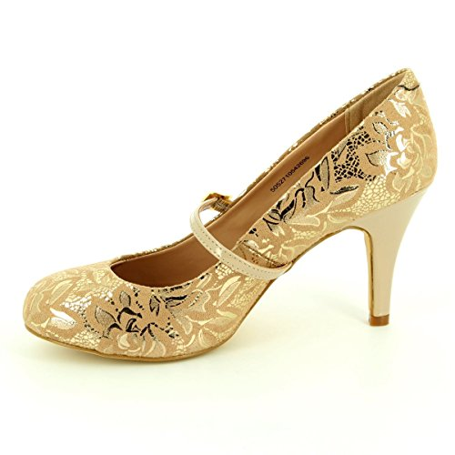 Court Nude Lotus Shoes Womens Fuzina Floral Lotus Fuzina Dress Print PFTXFqw