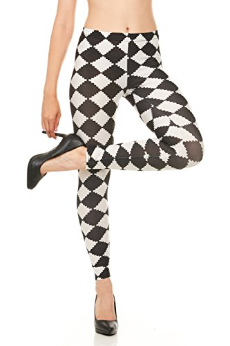 CARNIVAL Women's Full-Length Printed Soft Microfiber Legging, Black