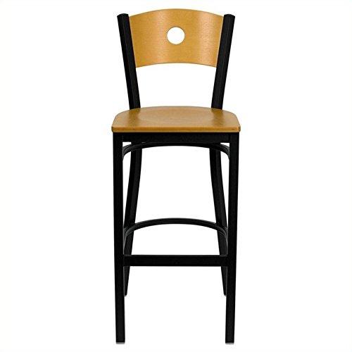 Flash Furniture HERCULES Series Black Circle Back Metal Restaurant Barstool - Natural Wood Back & Seat