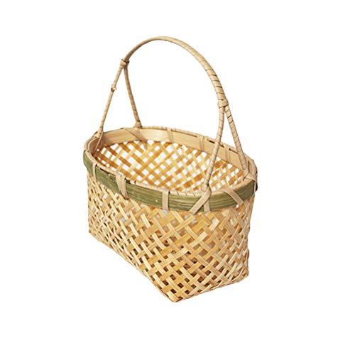 Yardwe Cesto de bambú Tejido Hecho a Mano Cesta de Almacenamiento Portátil Cesta de Flores Flor