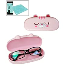 JAVOedge Hard Shell Cute Cartoon Cat Face Eyeglass Case (Pink), Bonus Free Soft Microfiber Lens Cleaning Cloth