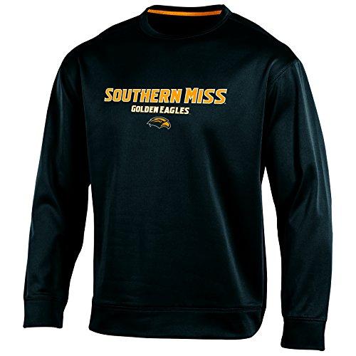 (Champion NCAA Southern Mississippi Golden Eagles Men's Run & Shoot Crew Neck Fleece Sweatshirt, Black, XX-Large)