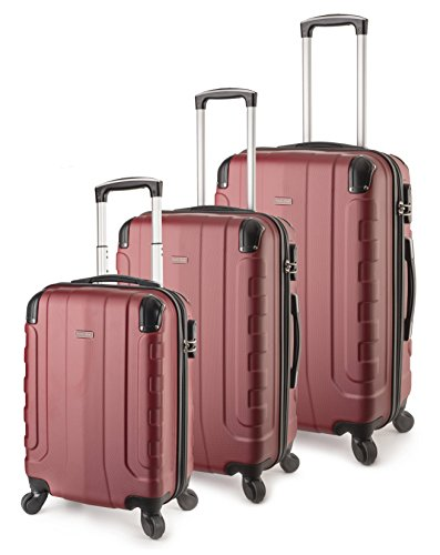 TravelCross Chicago Luggage 3 Piece Lightweight Spinner Set - Red by Travelcross