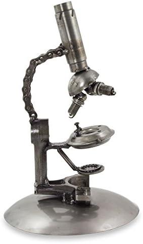 NOVICA rústico microscopio upcycled Auto Parte Escultura ...