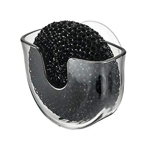 - iDesign Vella Scrubby Holder, Suction Cup Kitchen Sink Organizer, Smoke