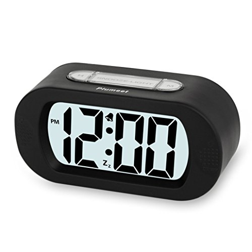 Plumeet Digital Large LCD Easy Setting Travel Alarm Clock with Snooze Good Backlight of 3 AAA Batteries Powered(Black) (Battery Operated Clocks Small)