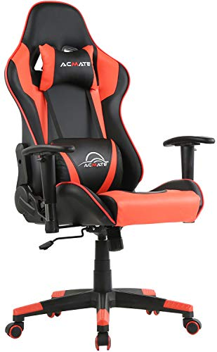 Acmate Ergonomic Gaming Computer Chair Massage Gaming Chair Reclining Gamer Chair High Back Gaming Desk Chair Height Adjustable Computer Chair Racing Home Office Chair with Headrest and Lumbar Support
