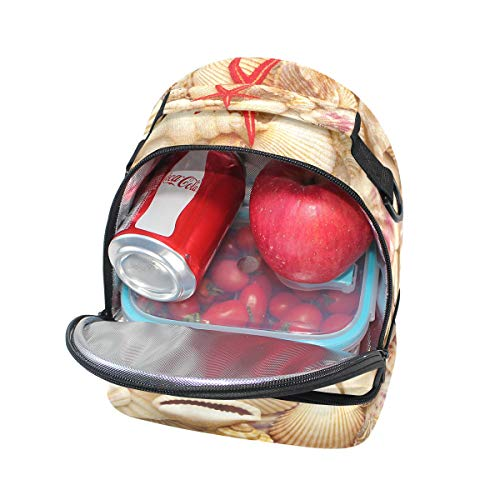 diseño concha de conchas con y de picnic roja para de estrella Bolso ajustable mar doble correa almuerzo de fIqCHPR