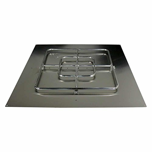 Pyromania Stainless Steel Square Flat Fire Pit Burner Ring and Pan Assembly, 36 X 36 ()