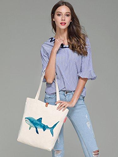 So'each Women's Shark Water Color Graphic Top Handle Canvas Tote Shoulder Bag