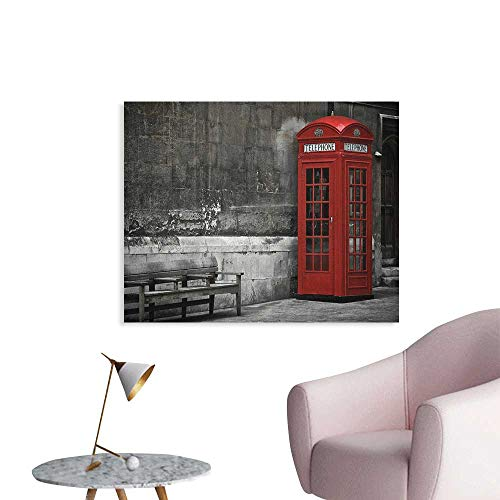 Anzhutwelve London Wall Sticker Decals Famous British Phone Boot in London Streets Important Icon of Town Urban Life Photo Custom Poster Red Grey W36 xL32