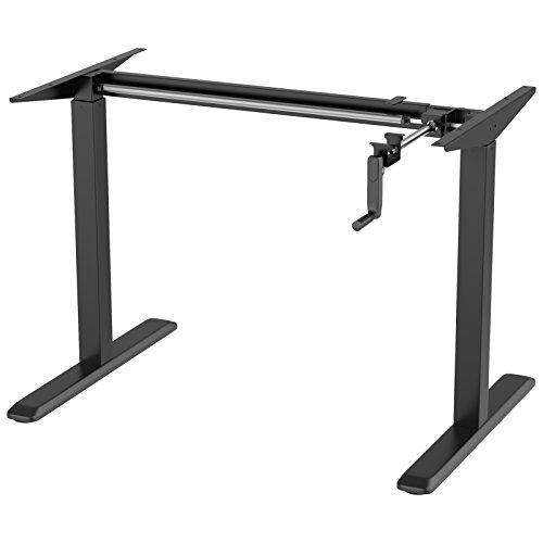 1home Height Adjustable Sit-Stand Desk (Frame Only) Manual Crank 2 Leg Workstation Black
