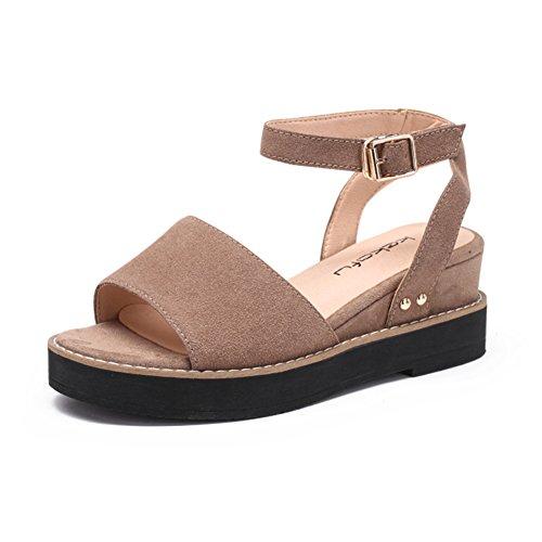 Verano Una Palabra Hebilla Con Zapatos De Mujer/Zapatos De La Plataforma Suela Gruesa De La Dermis Del B