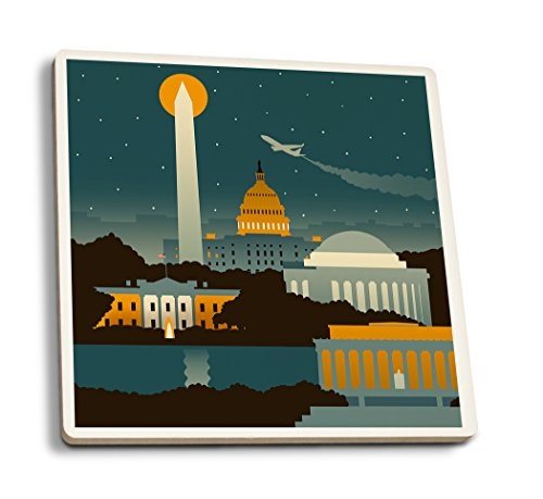 (Lantern Press Washington, DC - Retro Skyline (no Text) (Set of 4 Ceramic Coasters - Cork-Backed, Absorbent))