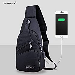 Viet-GT Feed Bag Waist Packs - Sling Shoulder USB Charge Chest Bag for Men Casual Multifunction Waterproof Crossbody Bag Women Short Trip 2018 1 PCs