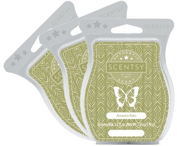 Scentsy, Amazon Rain, Wickless Candle Tart Warmer Wax 3.2 Oz Bar, 3-pack (3)