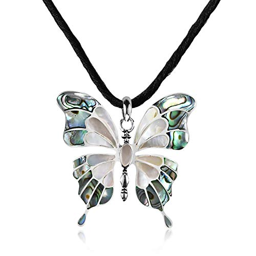 AeraVida Elegant Seashell Inlaid Butterfly on Silk Chord .925 Sterling Silver Pendant Necklace