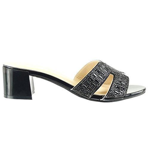 Angkorly - Scarpe da Moda sandali infradito slip-on donna strass perla Tacco a blocco tacco alto 5 CM - Nero