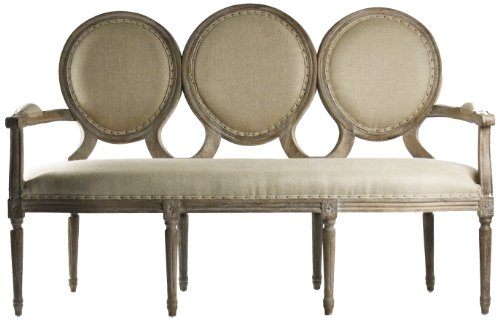 Zentique Medallion Settee, Limed Grey/Oak Hemp