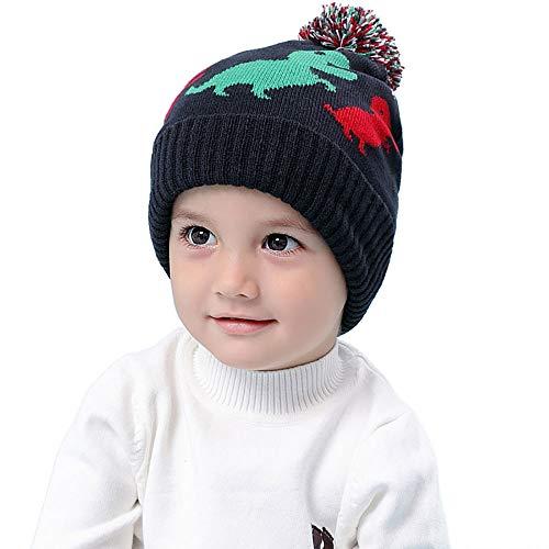 RUHI Baby Hat Flexible Toddler Winter Hat Skin-Friendly Material Dinosaur Beanie