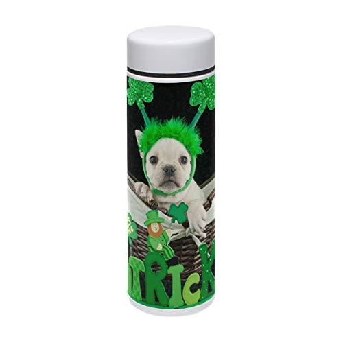 - My Little Nest Stainless Steel Water Bottle St Patrick's Day Cute French Bulldog Wear Shamrock Headband Double Walled Vacuum Insulated 7.5 oz Bottle Hot 12 Hours Cold 24 Hours