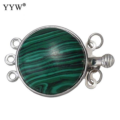 Kamas Turtle Shape Natural Stone Box Clasp Flat Round Silver Color DIY Necklace Bracelets Jewelry Finding Gem Stone Clasp 27x17.5x9mm - (Color: Malachite)