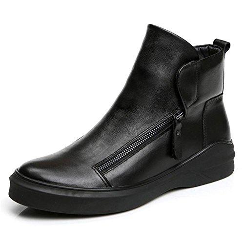 Herren Winter Herbst Echtleder britischen Stil lässigen Trend Stiefel Persönlichkeit black
