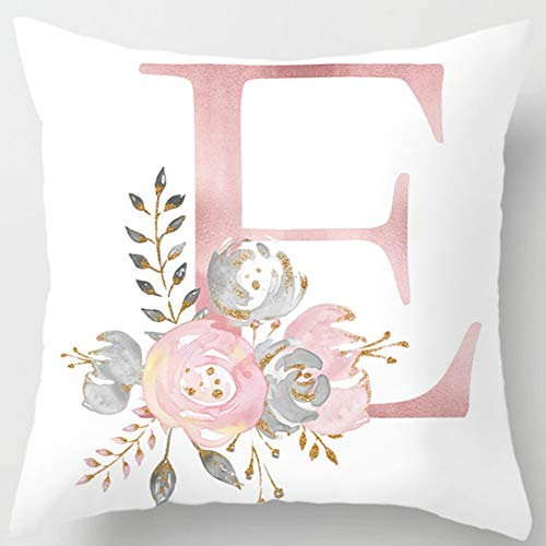Eanpet Throw Pillow Covers Alphabet Decorative Pillow Cases ABC Letter Flowers Cushion Covers 18 x 18 Inch Square Pillow Protectors for Sofa Couch Bedroom Car Chair Home Decor (E) ()