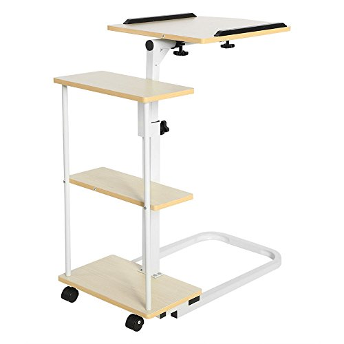 New Overbed Rolling Table With Tilting Top for Laptop Food Tray Hospital Desk Multi Function (Stock US) by Neolifu (Image #3)