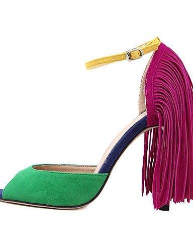 lfnlyx de zapatos de mujer stiletto talón abierto Toe sandalias vestido/casual negro/verde negro